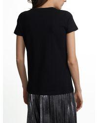 White + Warren - Black Cotton Modal Short Sleeve Crewneck Tee - Lyst