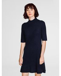 White + Warren - Blue Cashmere Ribbed Swing Dress - Lyst