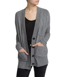 White + Warren - Gray Cashmere Patch Pocket V Cardigan - Lyst