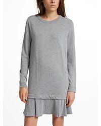 White + Warren - Gray Combed Cotton Ruffle Hem Dress - Lyst
