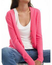 White + Warren - Pink Essential Cashmere V Neck Cardigan - Lyst
