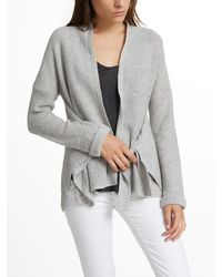 White + Warren - Gray Cashmere Convertible Wrap Cardigan - Lyst