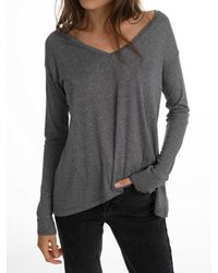 White + Warren - Gray Rib Jersey Asymmetrical V Neck - Lyst