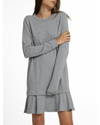 White + Warren | Gray Combed Cotton Ruffle Hem Dress | Lyst