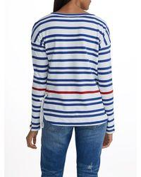 White + Warren - Blue Combed Cotton Side Tie Bateauneck - Lyst
