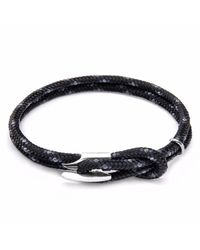 Anchor & Crew | Black Padstow Silver & Rope Bracelet for Men | Lyst