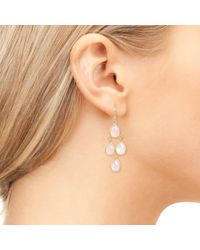 Latelita London - Pink Mini Cascade Earring Rosegold Rose Quartz - Lyst