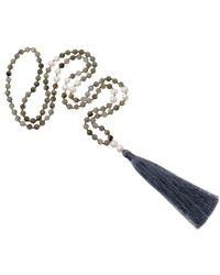 JIYA - Freshwater Pearl & Gray Agate Necklace - Lyst