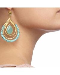 Ottoman Hands - Multicolor Aqua Chalcedony Tear & Silk Statement Drop Earrings - Lyst