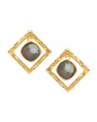 Ottoman Hands - Metallic Labradorite Stone & Square Swing Earrings - Lyst