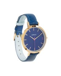 Auree Jewellery - Montmartre Royal Blue & Powder Blue Leather Watch Strap With Yellow Gold Buckle - Lyst
