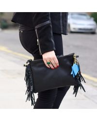 Davina Mulford London - Fringed Cross Body Bag Black - Lyst