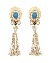 Carousel Jewels - Multicolor Turquoise & Pearl Statement Long Earrings - Lyst