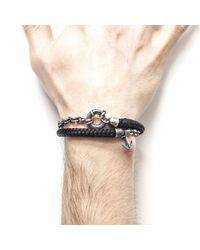 Anchor & Crew - Black Barmouth Silver & Rope Bracelet for Men - Lyst