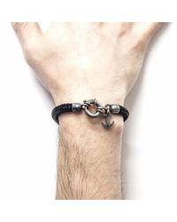 Anchor & Crew - All Black Salcombe Silver & Rope Bracelet for Men - Lyst