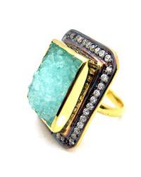 Meghna Jewels - Mint Green Textured Druzy Ring - Lyst