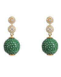 Latelita London - Stingray Ball Earring With Zircon Emerald Green Jade - Lyst