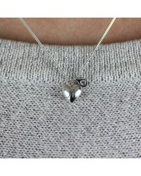 Lee Renee - Metallic Heart Initial & Diamond Necklace Silver - Lyst