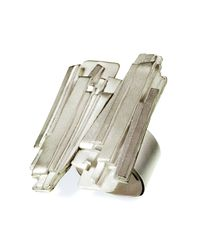 Linnie Mclarty - Metallic Jealous, Much? Silver Ring Large Square - Lyst