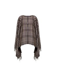 Rumour London | Brown Ava Check Wool-blend Cape | Lyst