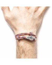 Anchor & Crew - Red Dash Tyne Silver & Rope Bracelet for Men - Lyst