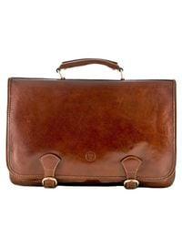 Maxwell Scott Bags - Luxury Italian Leather Men's Large Satchel Bag Jesolo Dark Chocolate Brown for Men - Lyst