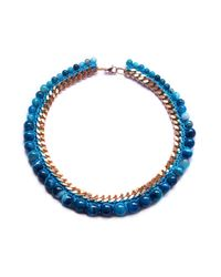 Miss High & Low - Blue Flow Necklace Gold - Lyst