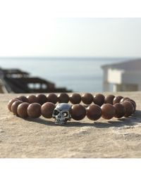 Latelita London - Multicolor Skull Bracelet Sterling Silver Brown Agate for Men - Lyst