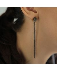 Helen Rankin - Black Rhythm Stud Chain Earrings Oxidised Silver - Lyst