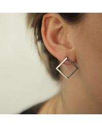Helen Rankin - Black Large Geom Stud Earrings Oxidised Silver - Lyst