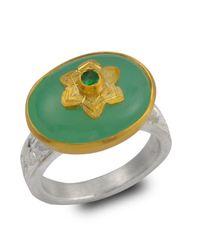 Emma Chapman Jewels - Green Byzantine Star Chrysoprase & Tsavorite Ring - Lyst