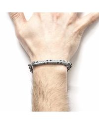 Anchor & Crew - Gray Grey Dash Derry Silver & Rope Bracelet for Men - Lyst
