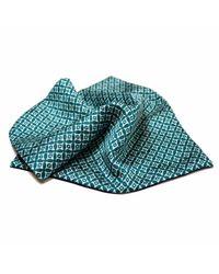Louise & Zaid - Geometric Green Silk Pocket Square for Men - Lyst