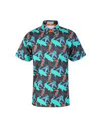McIndoe Design - Blue Dark Tropical Print Shirt for Men - Lyst