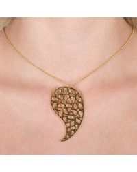 Sonal Bhaskaran   Metallic Jaali Rose Gold Necklace Clear Cz   Lyst
