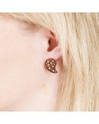 Sonal Bhaskaran | Pink Reya Rose Gold Paisley Earrings Clear Cz | Lyst