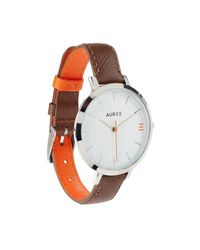 Auree Jewellery - Metallic Montmartre Sterling Silver Watch With Chestnut Brown And Orange Strap - Lyst