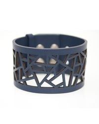 Ona Chan Jewelry - Blue Leather Lattice Cuff Navy - Lyst