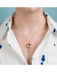 Nadia Minkoff - Metallic Dachshund Charm Necklace Gold With Malachite - Lyst