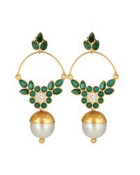 Carousel Jewels - Delicate Pearl & Green Onyx Earrings - Lyst