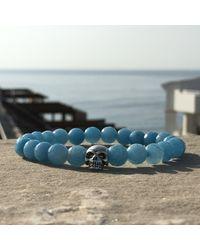 Latelita London - Skull Bracelet Sterling Silver Light Blue Chalcedony - Lyst
