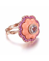 JAMES GANH - Pink Ring Pendant Coral - Lyst
