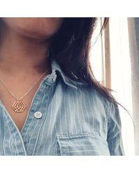 Dream of Songs - Metallic Hexagon Charm Necklace Brass - Lyst