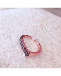 Latelita London - Multicolor Diamond Rosegold Midi Ring Chevron - Lyst