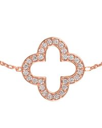 Latelita London - Metallic Open Clover Bracelet Rosegold - Lyst