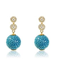 Latelita London | Blue Stingray Ball Earring With Zircon Ocean | Lyst