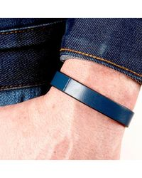 JAM MMXIV - Navy Blue Leather Bracelet for Men - Lyst