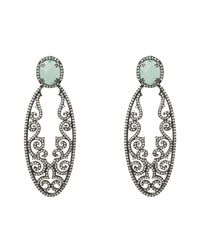 Latelita London - Multicolor Jasmine Aqua Chalcedony Gemstone Earring Oxidised - Lyst