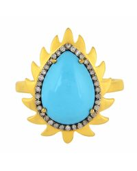 Meghna Jewels - Blue Flame Ring Turquoise & Diamonds - Lyst