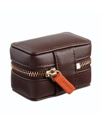 Stow - Soft Leather Sanderson Cufflink Box Smoky Quartz Brown & Pale Orange for Men - Lyst